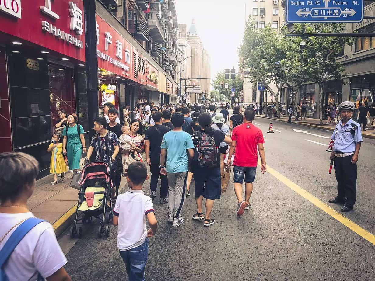 Crowded Sidewalk Busy Shanghai
