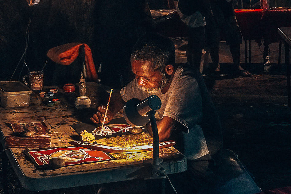 Aboriginal Painting Mindil Beach Sunset Market Darwin