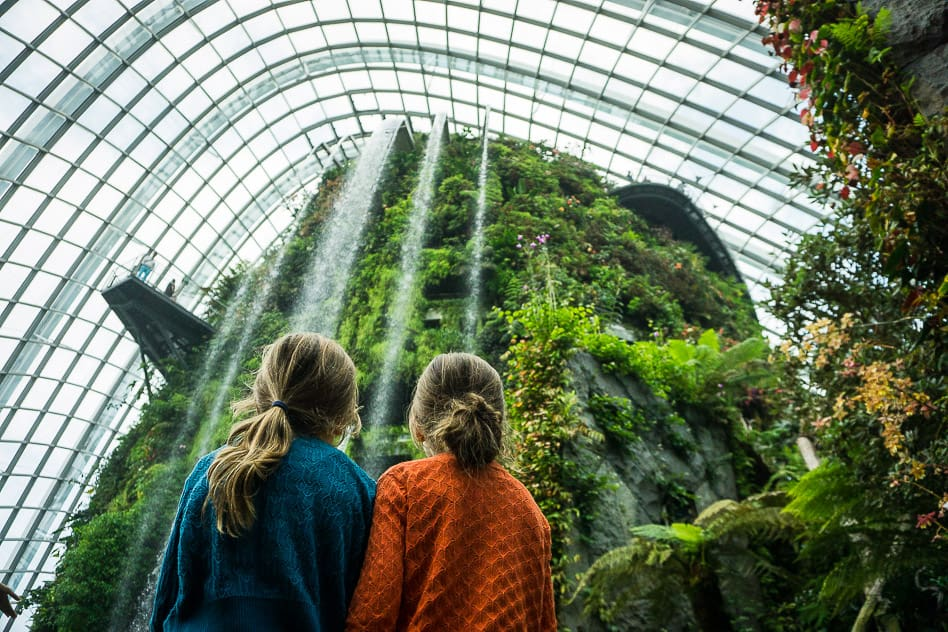 Cloud Forest waterfall Gardens By The Bay Singapore