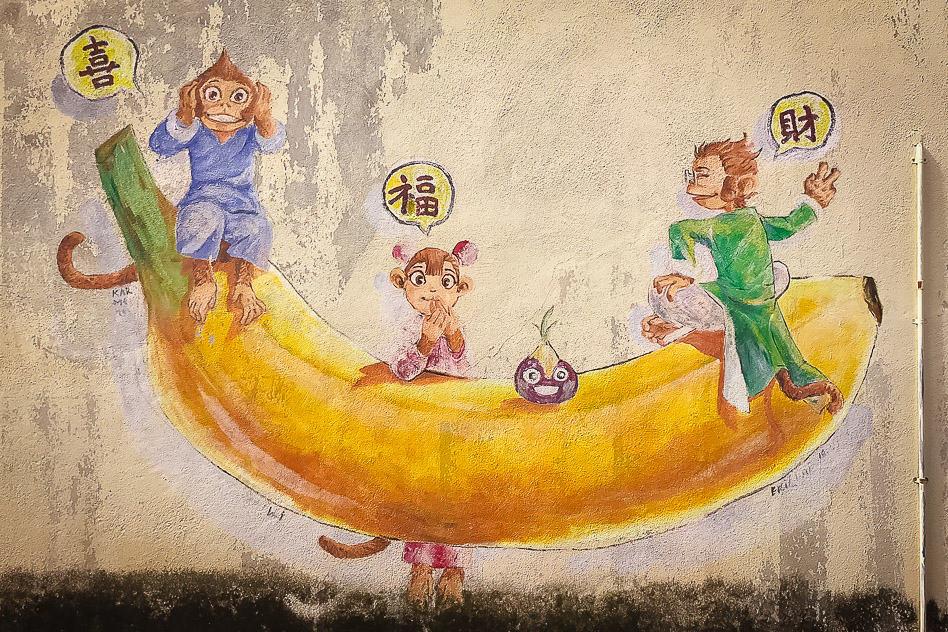 Ipoh Banana Street Art Monkeys Malaysia