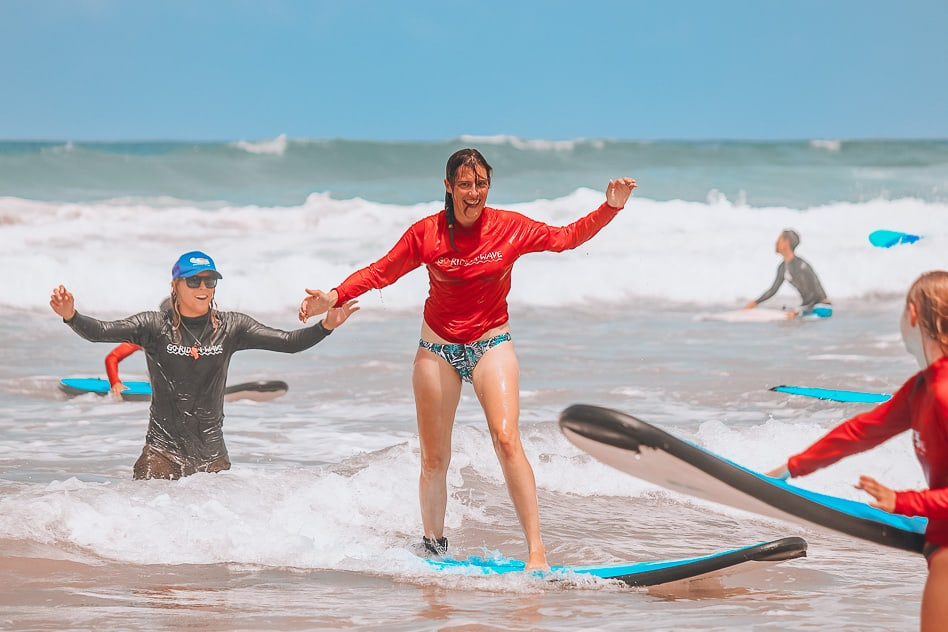 First Family Lesson Surfing Go Ride A Wave Standing Up