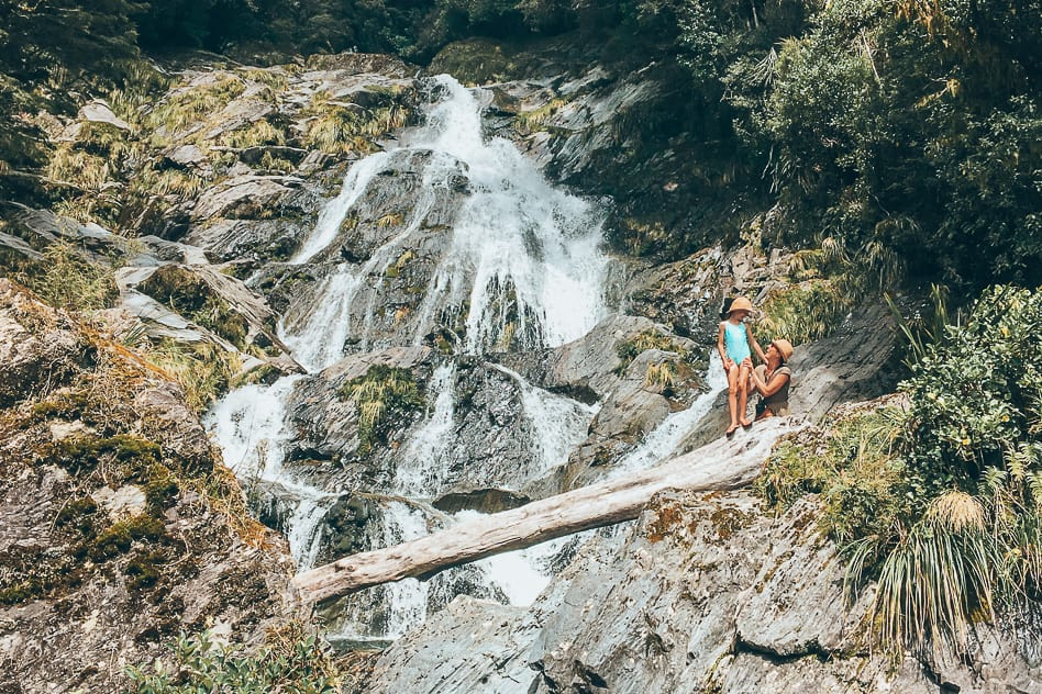 Waterfall Haast Highway Family Nature New Zealand