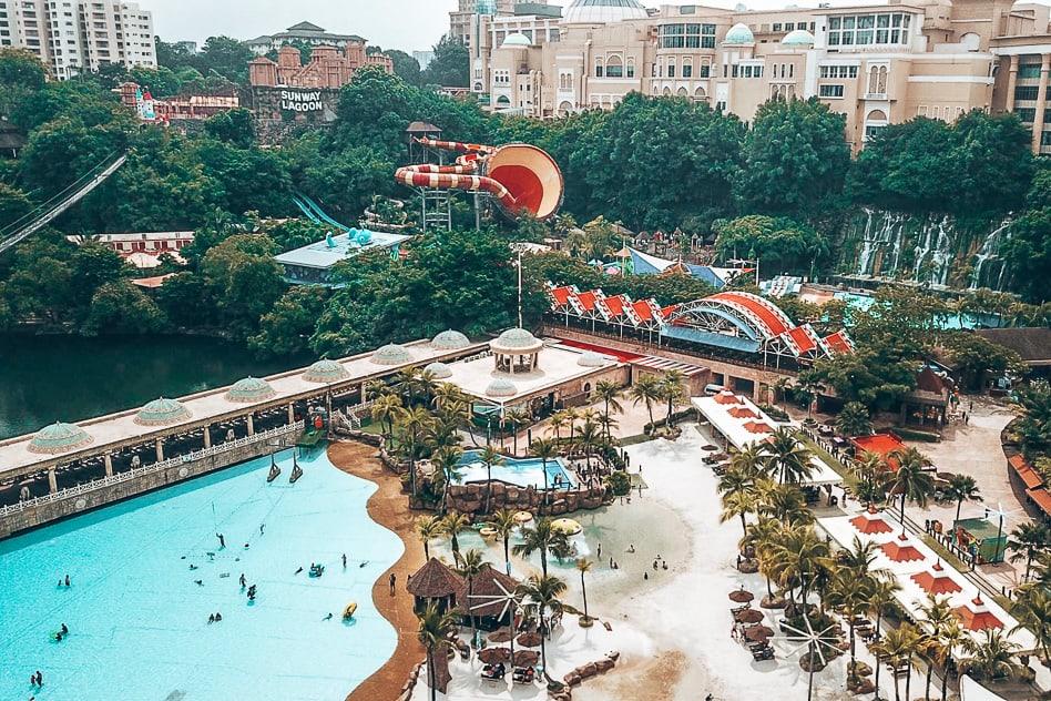 Aerial view Sunway Lagoon Theme Water Park Kuala Lumpur Malaysia
