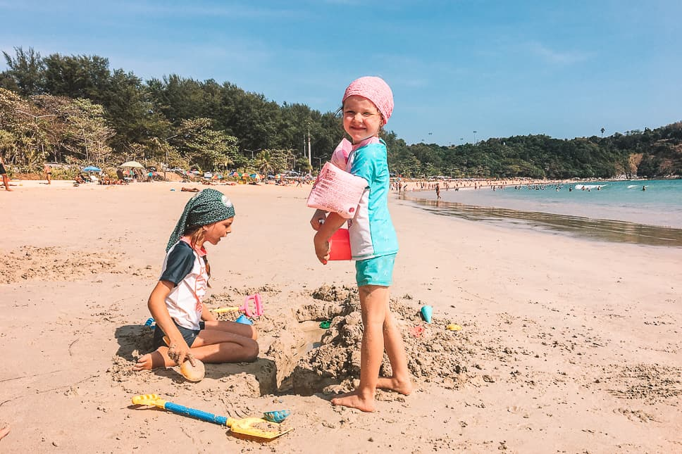 Family Kids Fun Beach Nai Harn Phuket Thailand