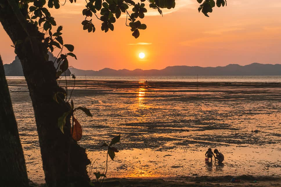 Sunset Krabi Tha Lane Bay Kids Fun Beach