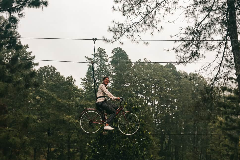 On a bike in the air in Bromo Forest Area Java