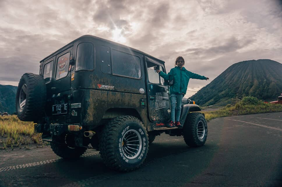 Kids having fun with the 4WD jeep tour in Tengger Bromo Area Java