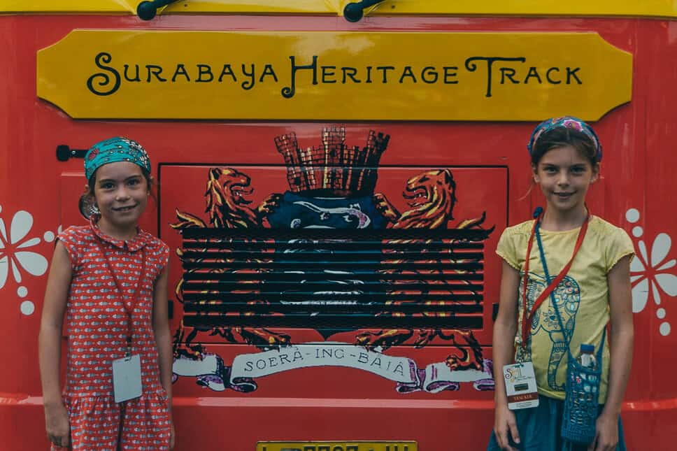Kids on the free Surabaya Heritage Track Bus