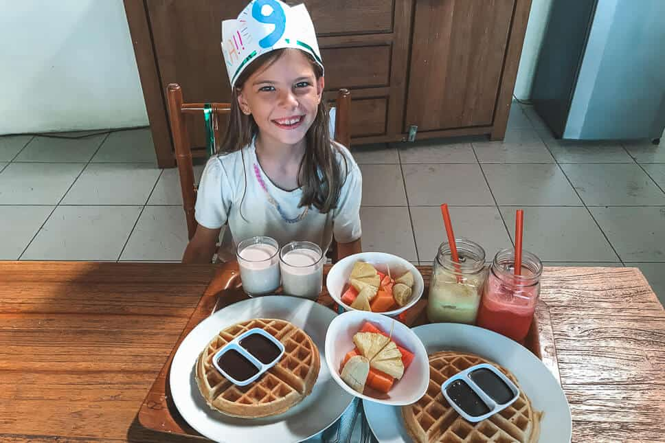 Our girl celebrating her birthday at Tiga Lima Guesthouse in Yogyakarta