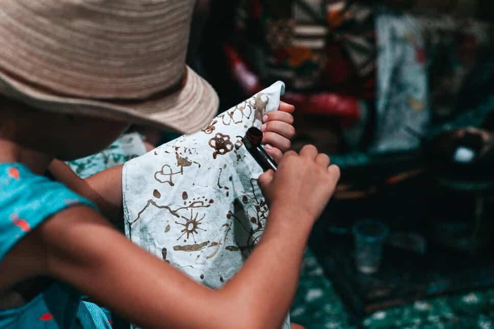 Trying the Batik process at Yogyakarta in Java