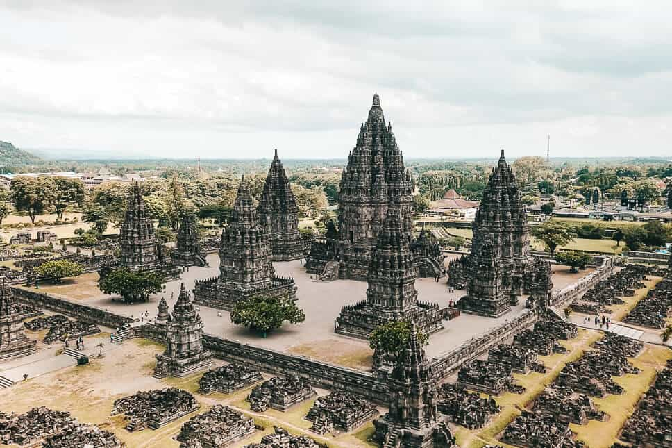 Prambanan Temple Complex Java Yogyakarta Drone