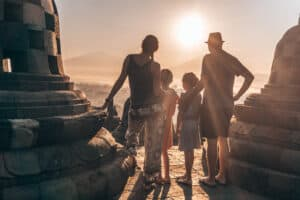 Sunrise at Borobudur in Java with kids