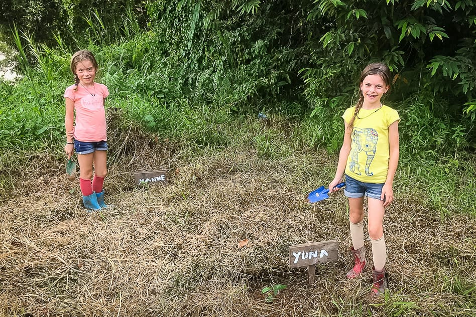 Kids planting trees to recover the rainforest in Borneo
