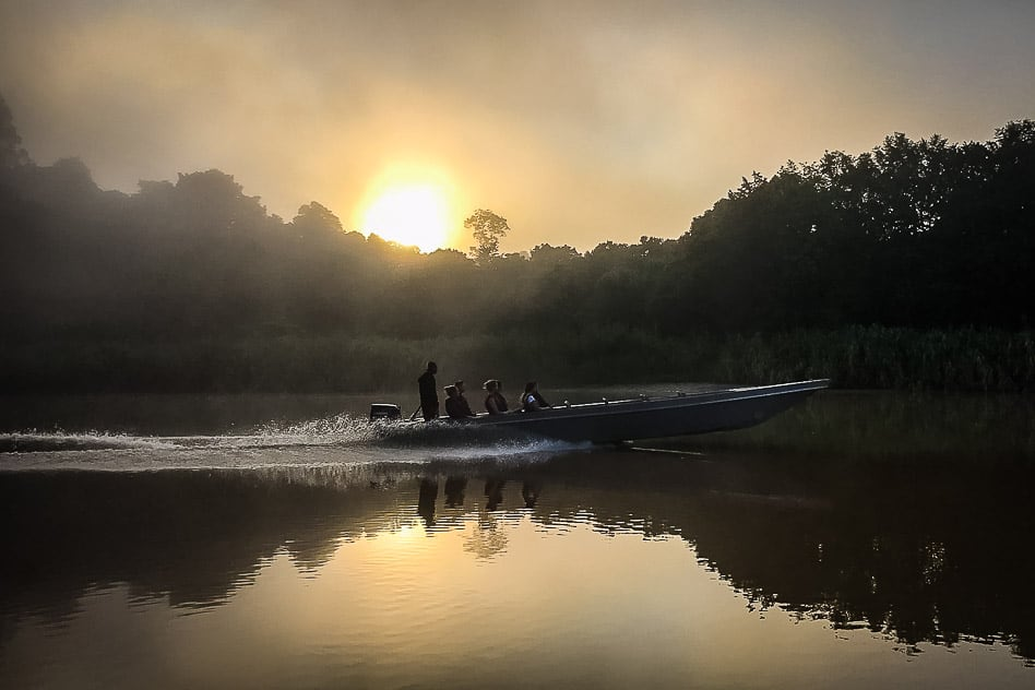 Morning cruise over the Kinabatangan River in Borneo during sunrise