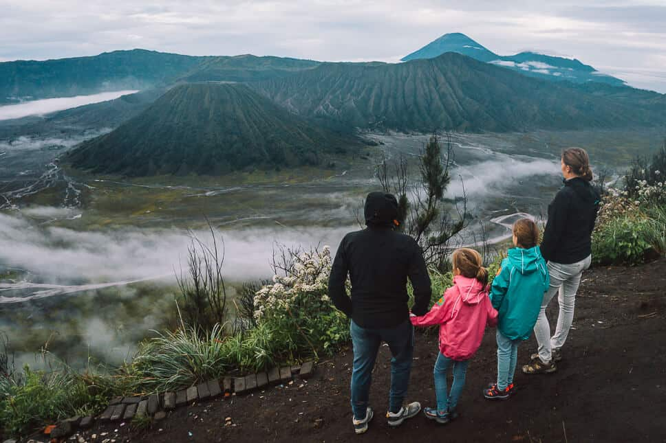 Family with kids enjoying view over Bromo and Tengger