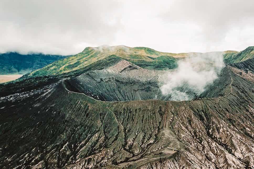 Drone Shot of the Smoking Bromo Volcano on Java