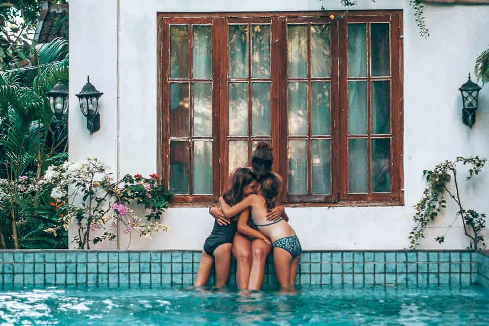 Family time by the swimming pool of Tiga Lima in Yogyakarta