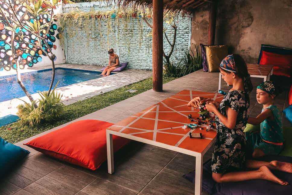 Relaxing and playing at the Via Via Guesthouse in Yogyakarta