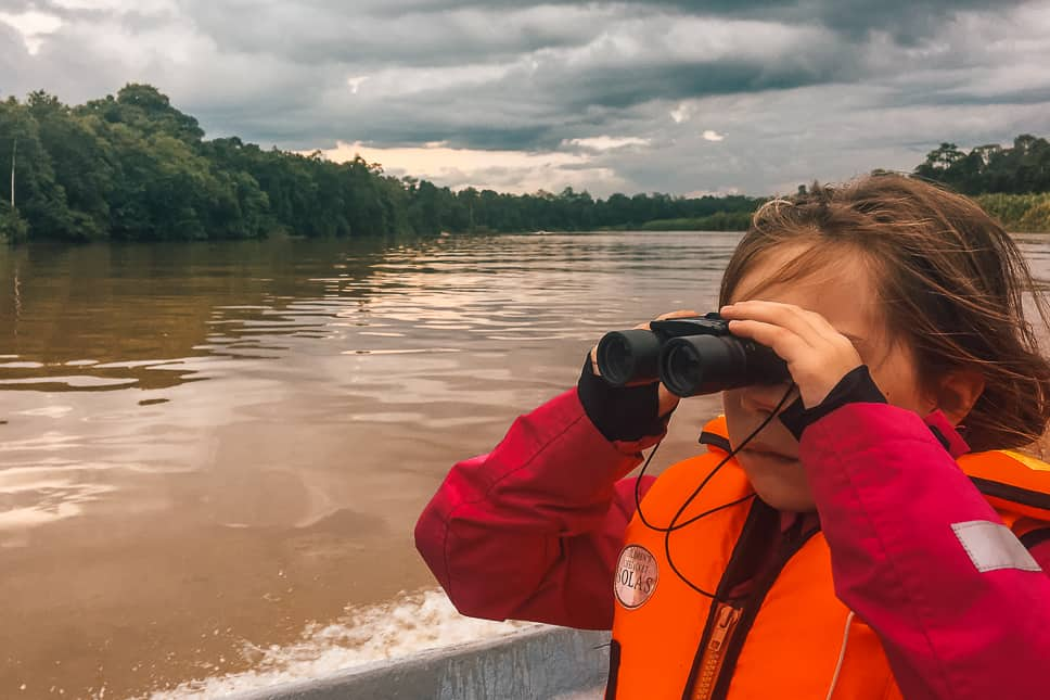 Kid is wildlife spotting with a binocular in Borneo