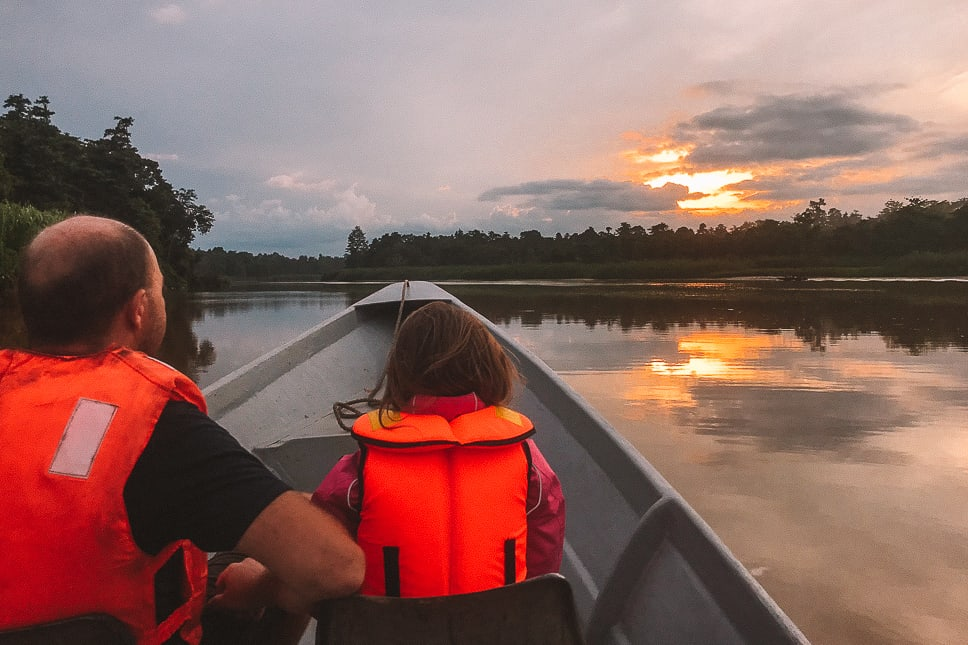 Enjoying sunset over the Kinabatangan River with kids in Borneo