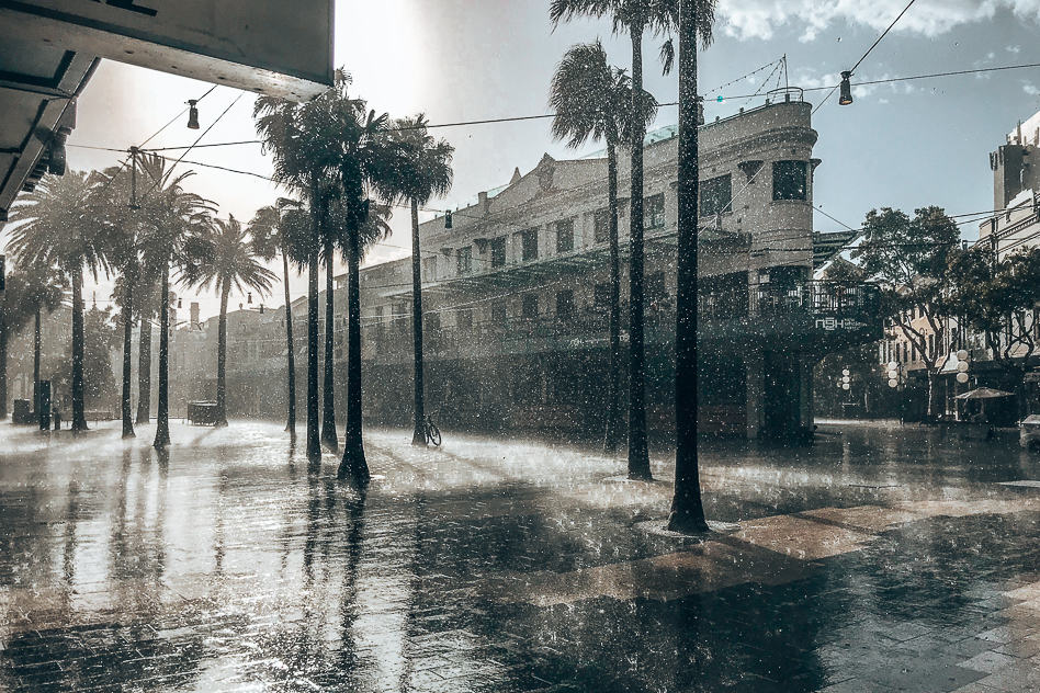 Manly Beach main Street Rain Sunshine Sydney