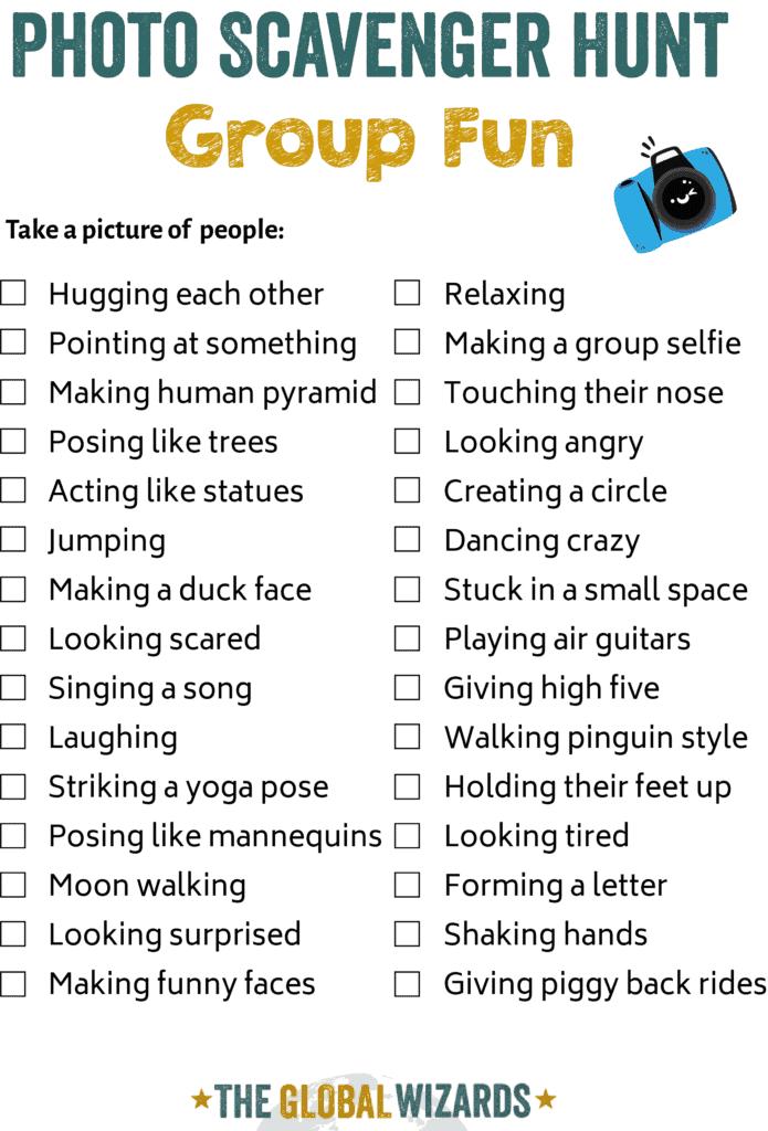 Group fun photo scavenger hunt ideas for kids