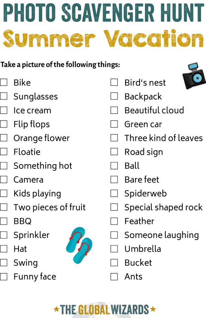 Photo scavenger hunt for kids in summer vacatino