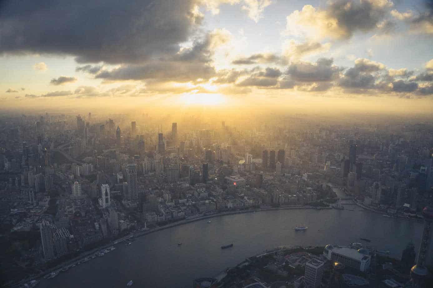 Sunset Shanghai Tower China