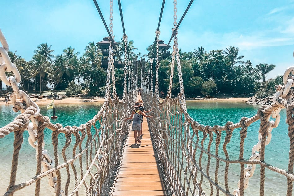 Sentosa bridge Siloso beach Southern Point Mainland Asia