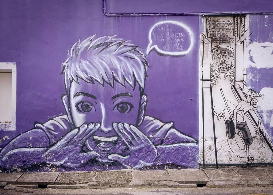 George Town Street Art Purple Big Penang Malaysia