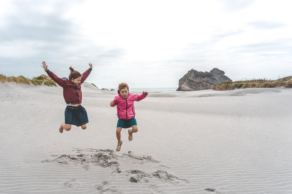 Wharariki Beach Kids Fun New Zealand