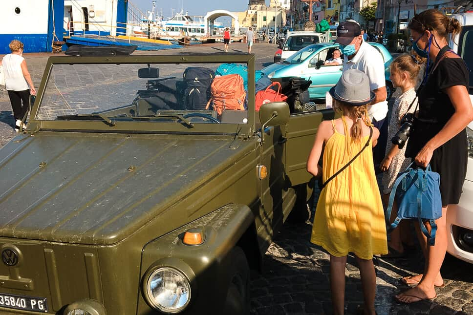 Arriving by ferry at Porto Marina di Procida Vintage VW Jeep