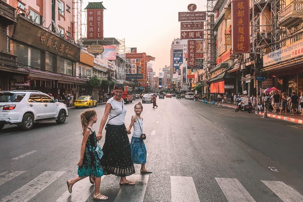 Chinatown Bangkok Family Crossing Street