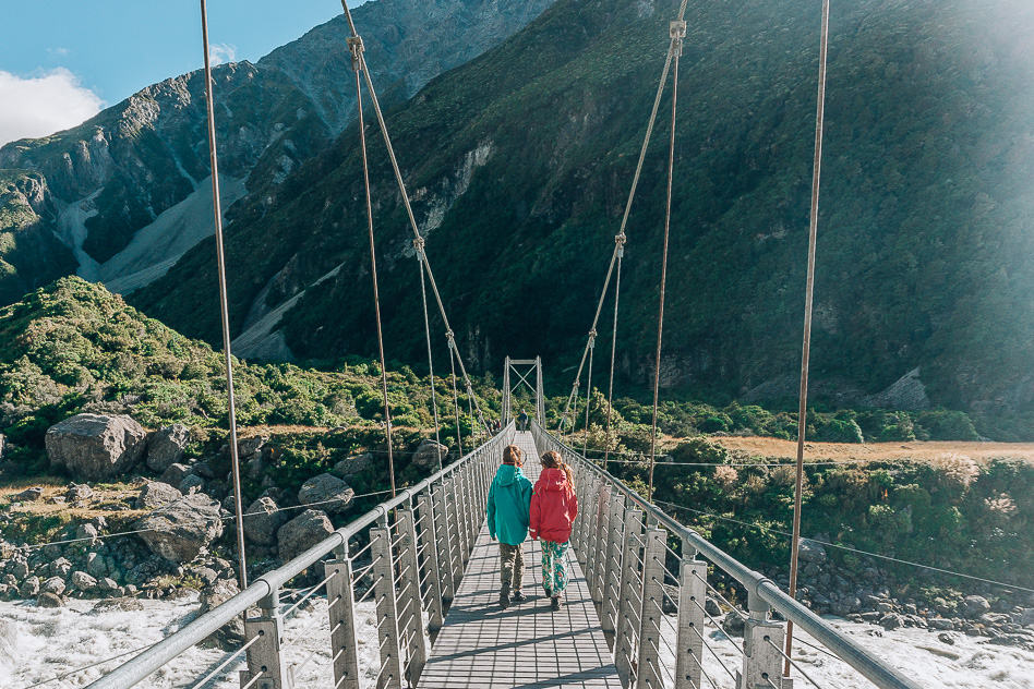Hanging Bridge Hooker Valley Aoraki Mount Cook New Zeeland