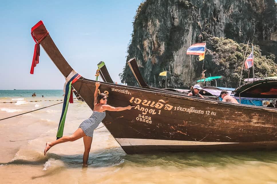 Railay Beach Long Tail Boat Krabi Thailand
