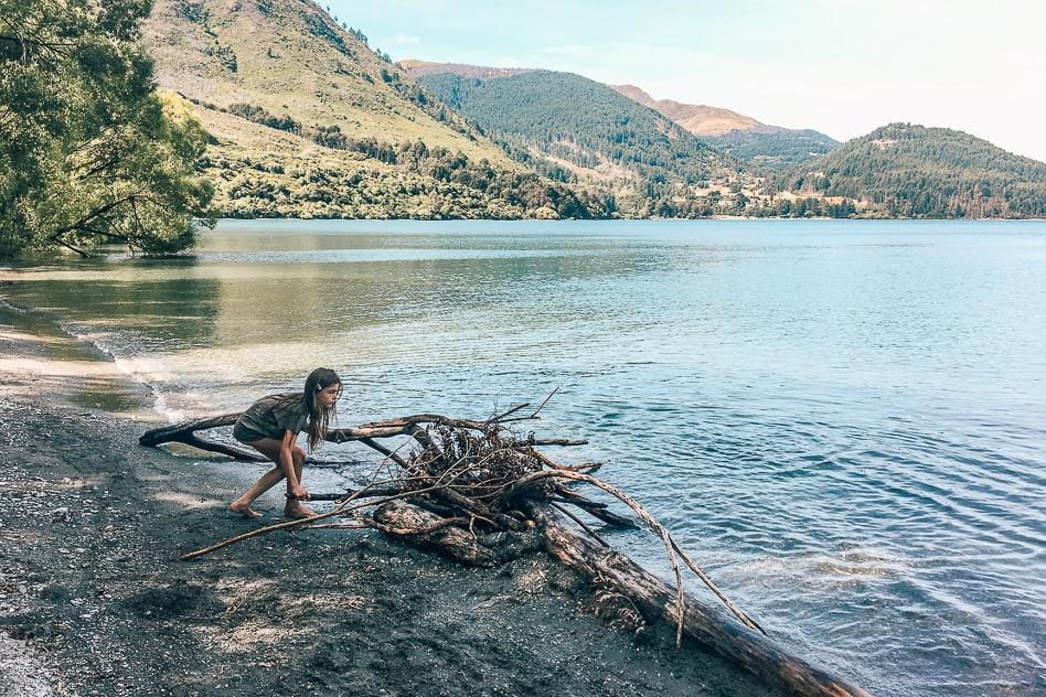 Kid Playing Lake Wakatipu Queenstown New Zealand