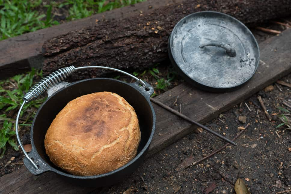 Dutch oven baking bread outdoor camping