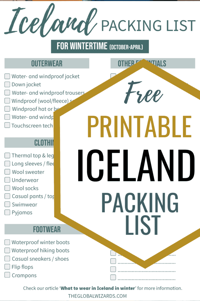 Printable Iceland winter packing list checklist