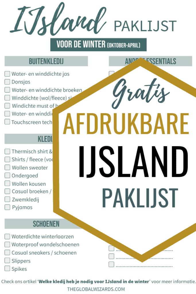 Paklijst Inpaklijst Kleding IJsland Winter