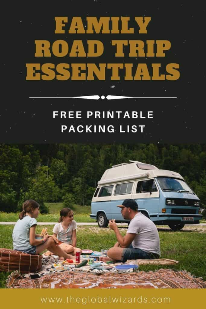 Family road trip packing list printable essentials