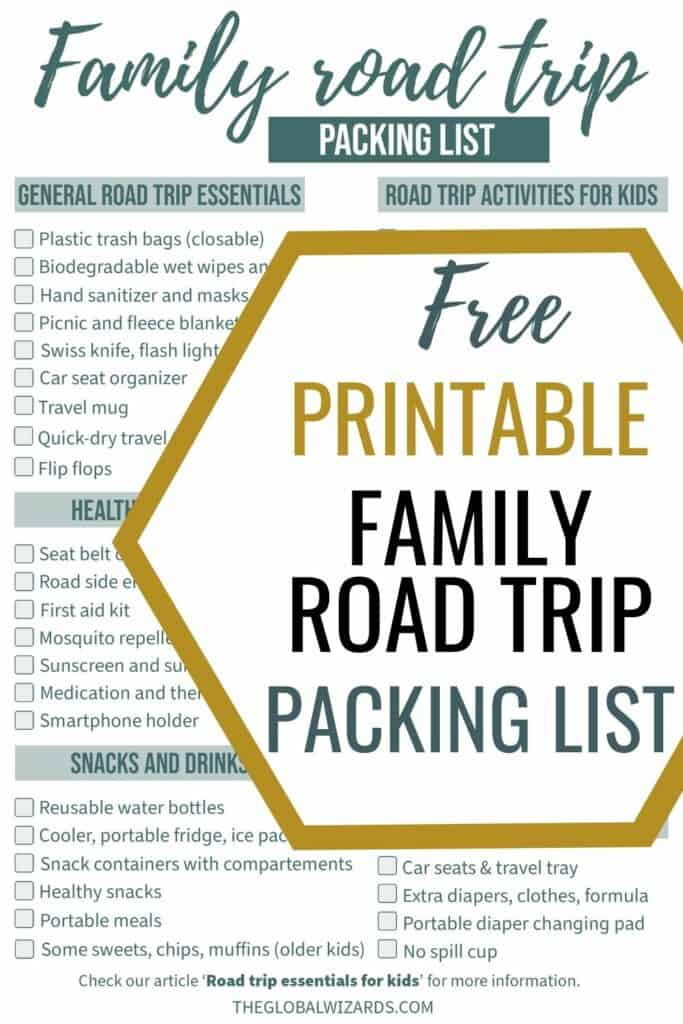 Free printable road trip with kids checklist