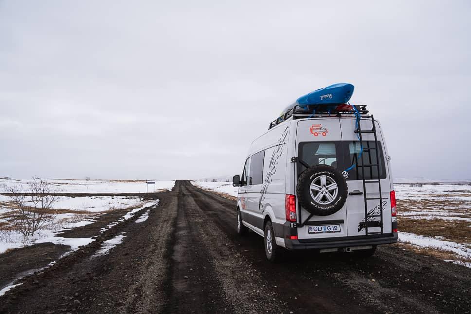 Gravel roads Iceland winter campervan
